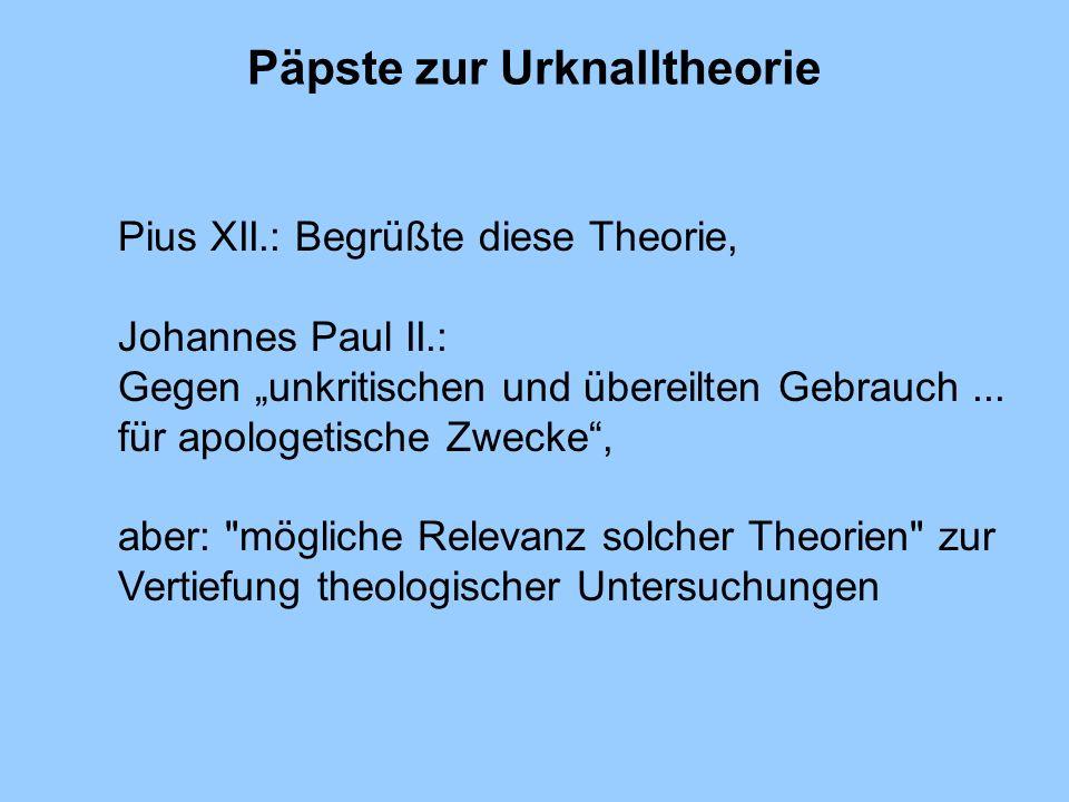 Päpste zur Urknalltheorie
