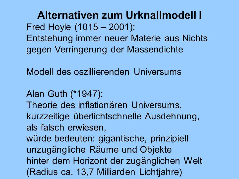 Alternativen zum Urknallmodell I