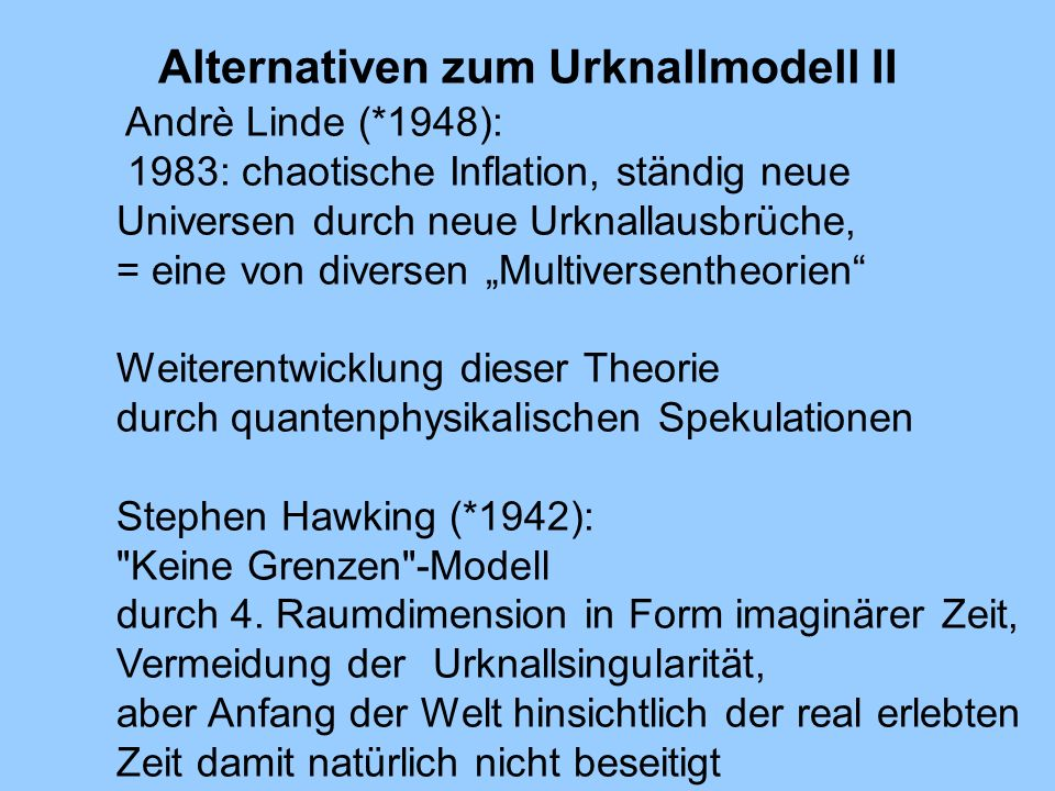 Alternativen zum Urknallmodell II
