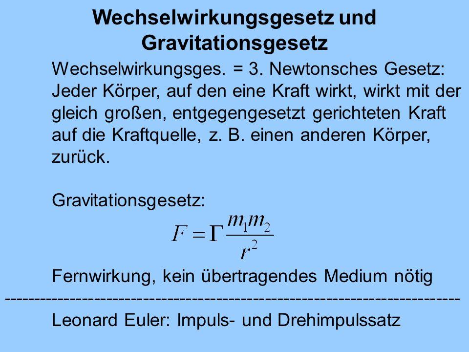 Wechselwirkungsgesetz und Gravitationsgesetz