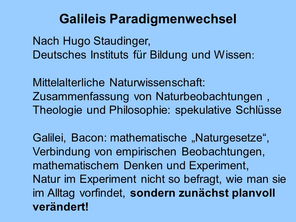 Galileis Paradigmenwechsel