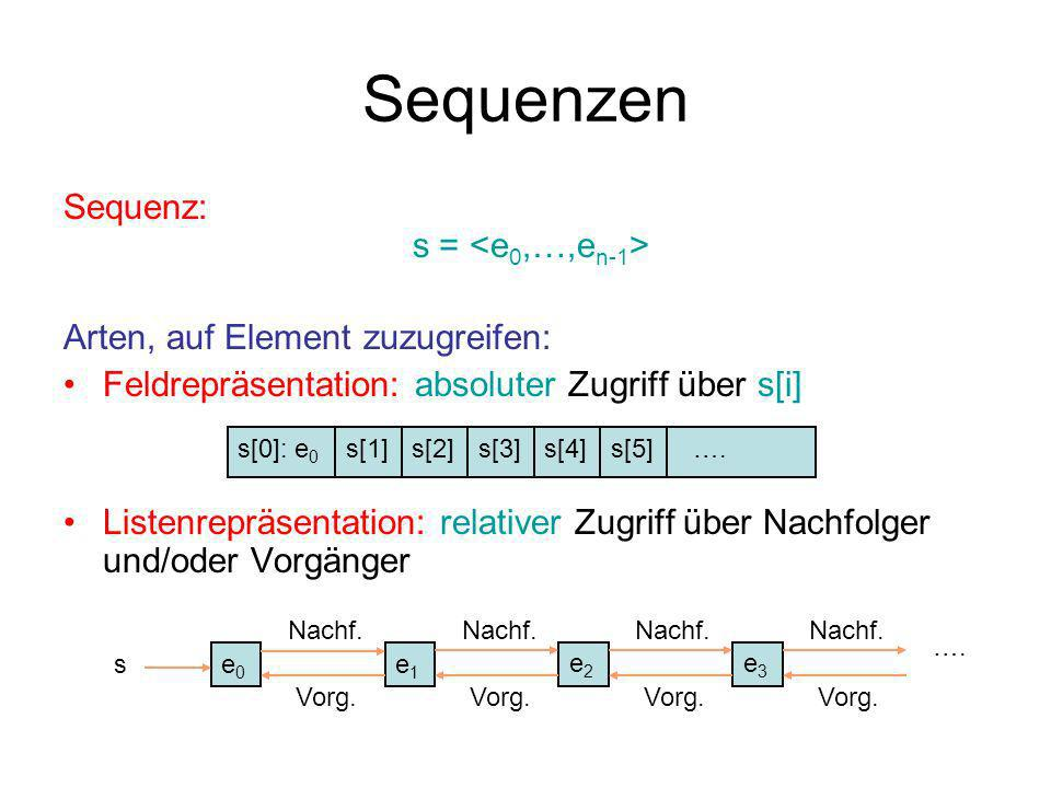 Sequenzen Sequenz: s = <e0,…,en-1>