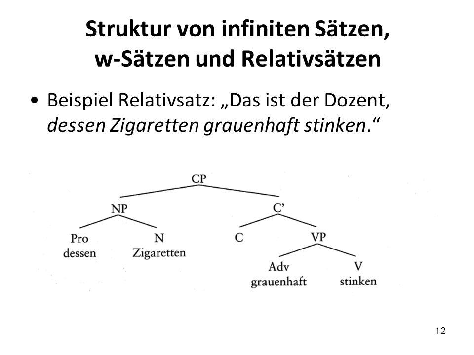Struktur von infiniten Sätzen, w-Sätzen und Relativsätzen