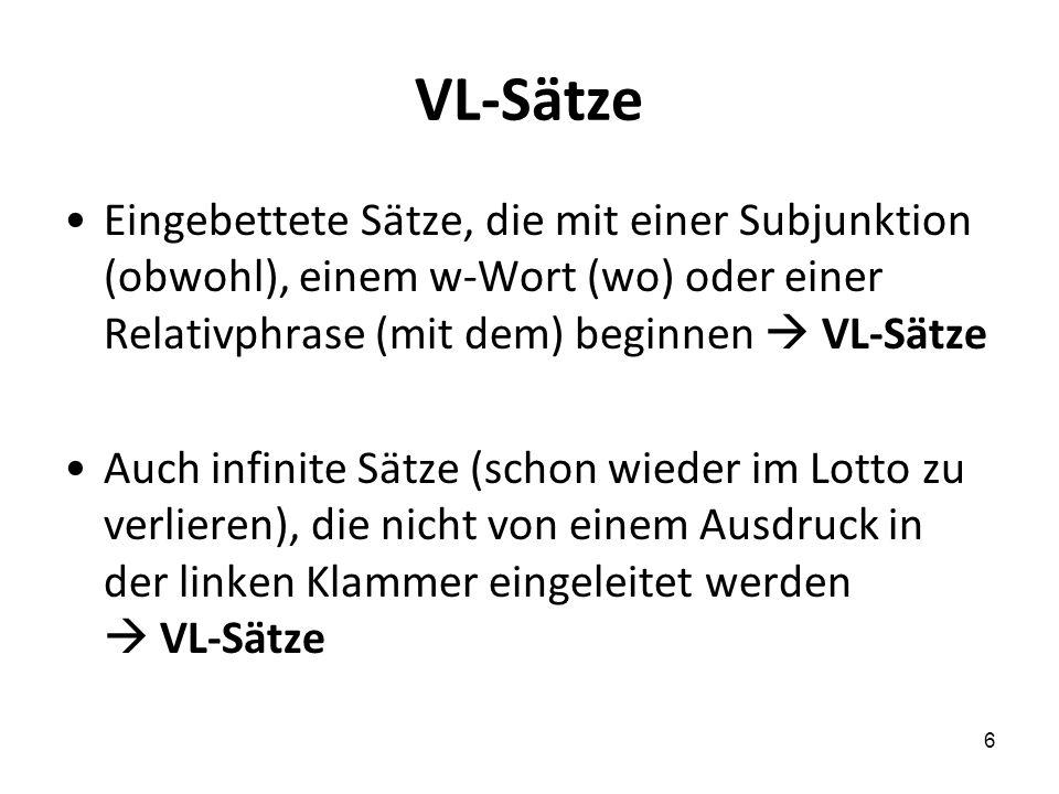 VL-Sätze Eingebettete Sätze, die mit einer Subjunktion (obwohl), einem w-Wort (wo) oder einer Relativphrase (mit dem) beginnen  VL-Sätze.