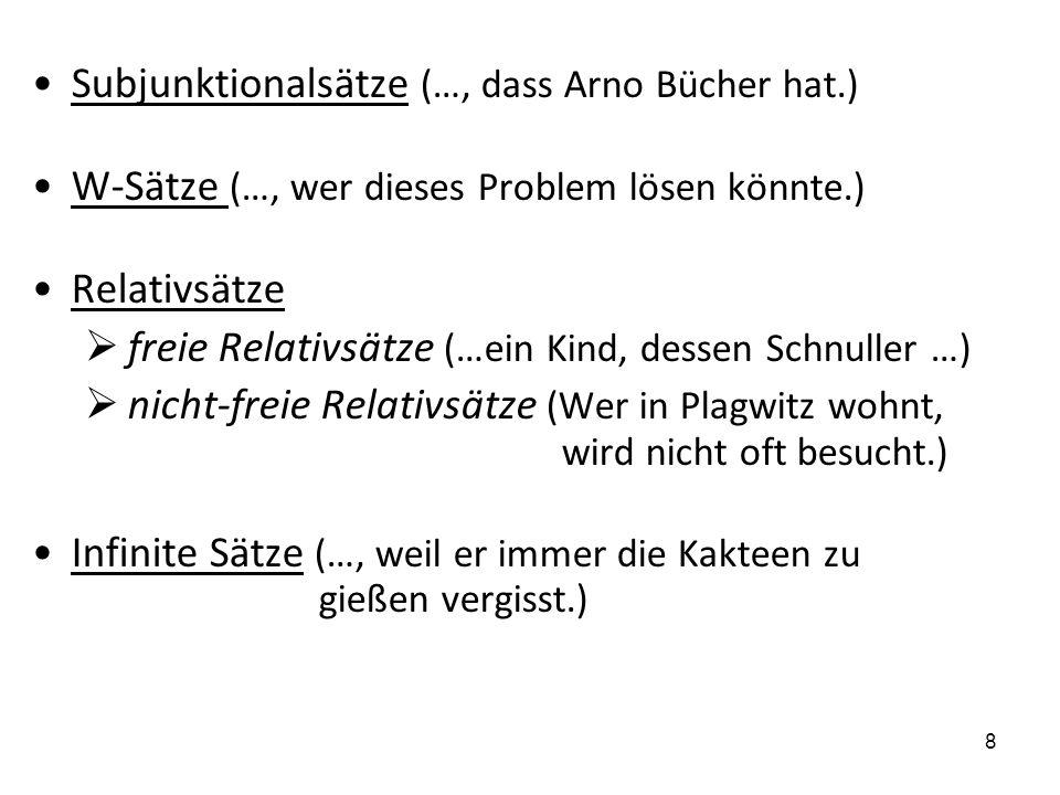 Subjunktionalsätze (…, dass Arno Bücher hat.)