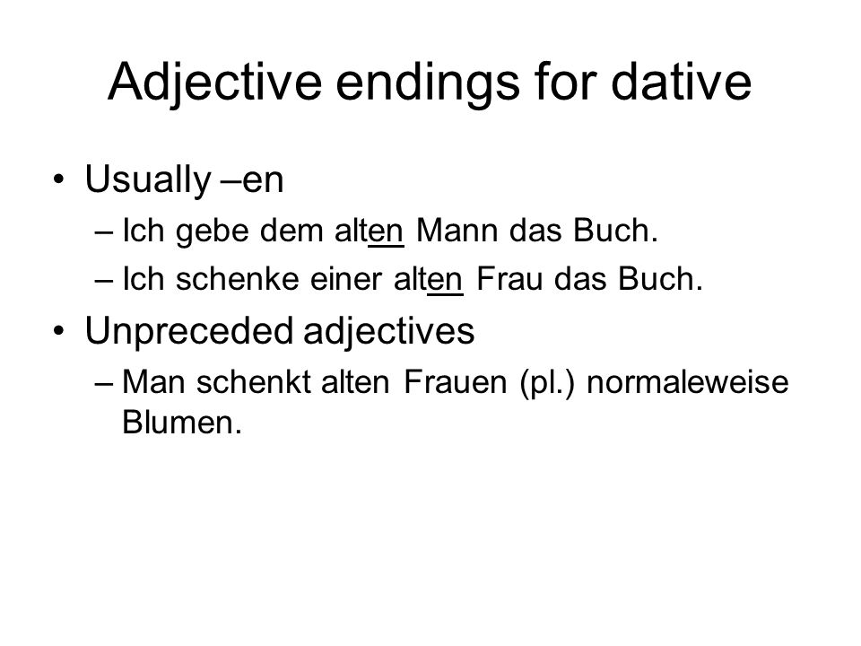 Adjective endings for dative