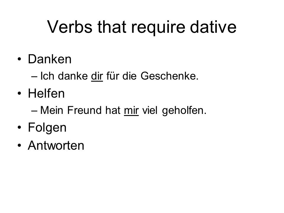 Verbs that require dative