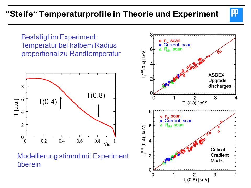 Steife Temperaturprofile in Theorie und Experiment