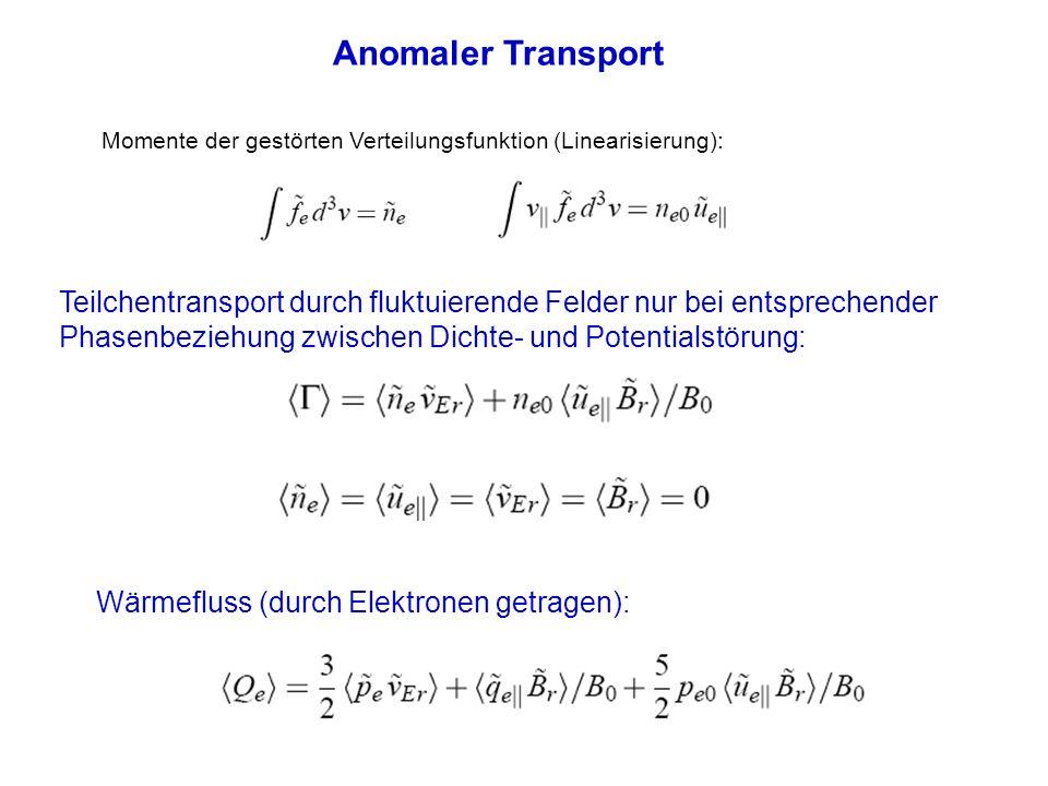 Anomaler Transport Momente der gestörten Verteilungsfunktion (Linearisierung):