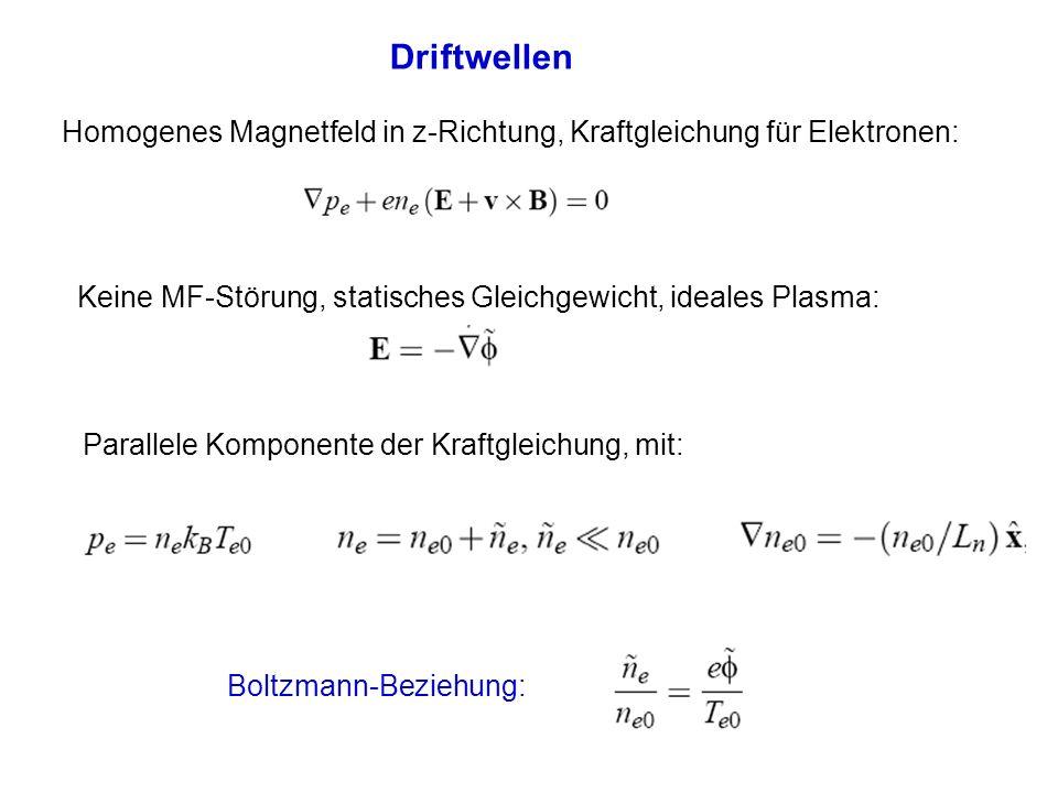 Driftwellen Homogenes Magnetfeld in z-Richtung, Kraftgleichung für Elektronen: Keine MF-Störung, statisches Gleichgewicht, ideales Plasma: