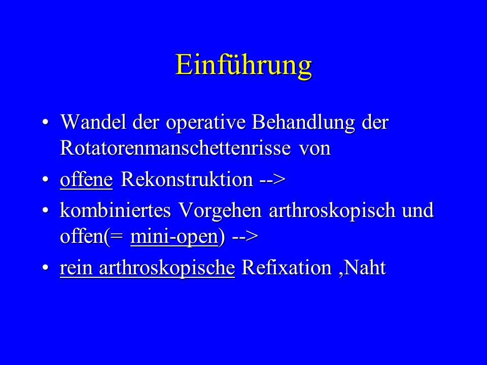 Einführung Wandel der operative Behandlung der Rotatorenmanschettenrisse von. offene Rekonstruktion -->