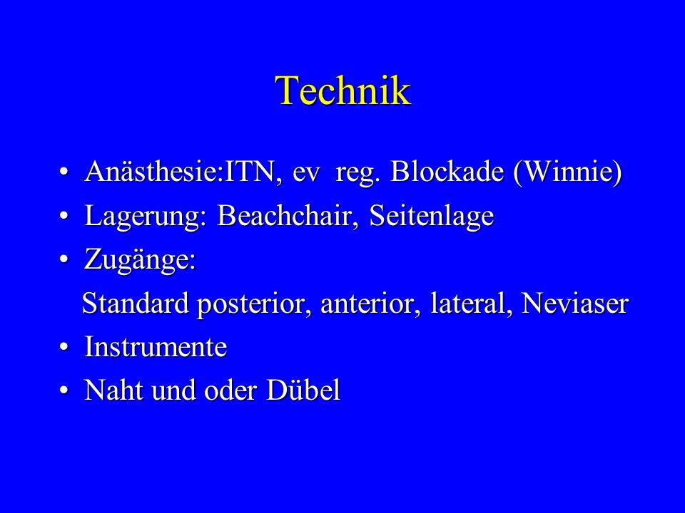 Technik Anästhesie:ITN, ev reg. Blockade (Winnie)