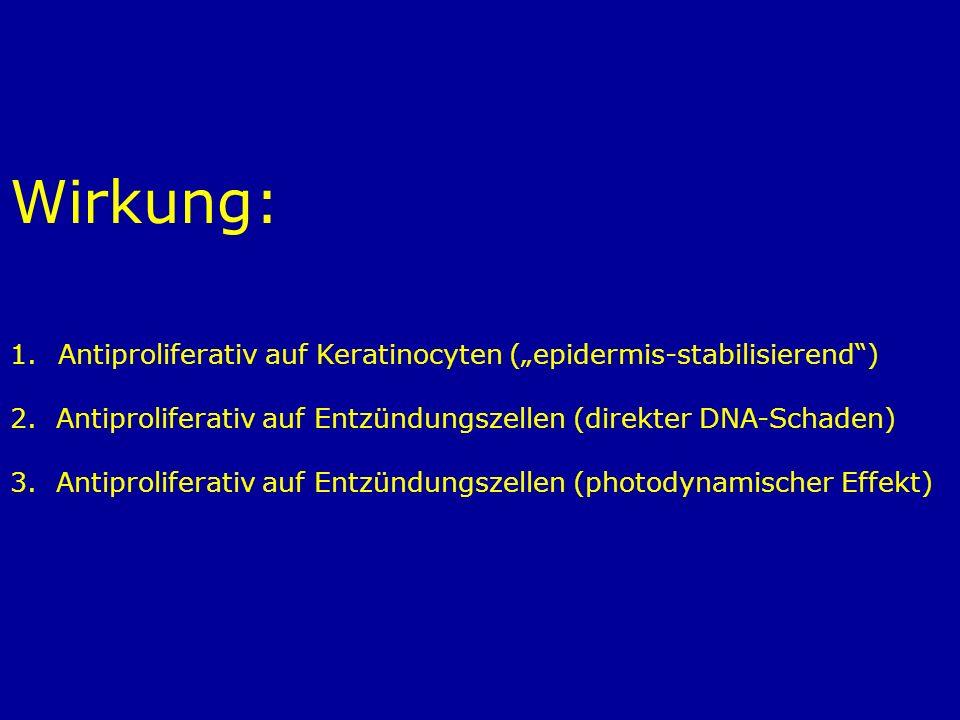 """Wirkung: Antiproliferativ auf Keratinocyten (""""epidermis-stabilisierend ) 2. Antiproliferativ auf Entzündungszellen (direkter DNA-Schaden)"""