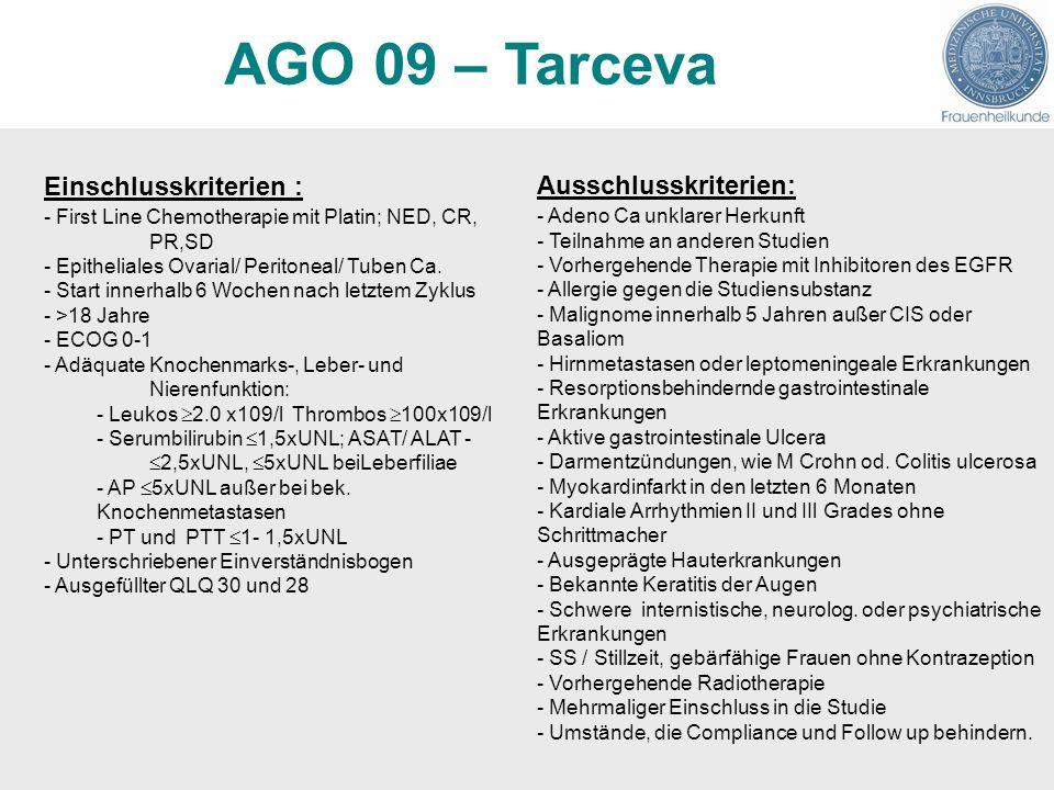 AGO 09 – Tarceva Einschlusskriterien : Ausschlusskriterien: