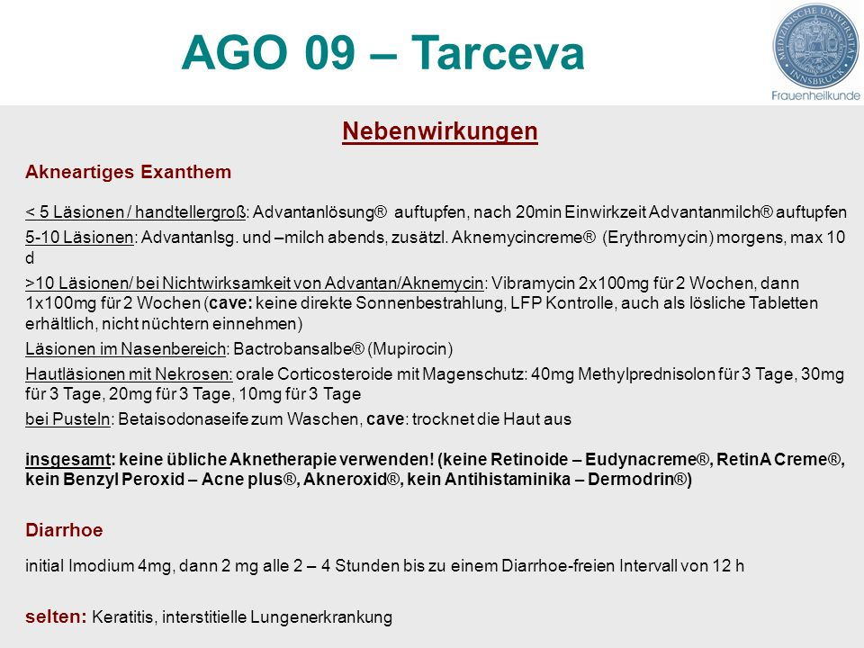 AGO 09 – Tarceva Nebenwirkungen Akneartiges Exanthem Diarrhoe