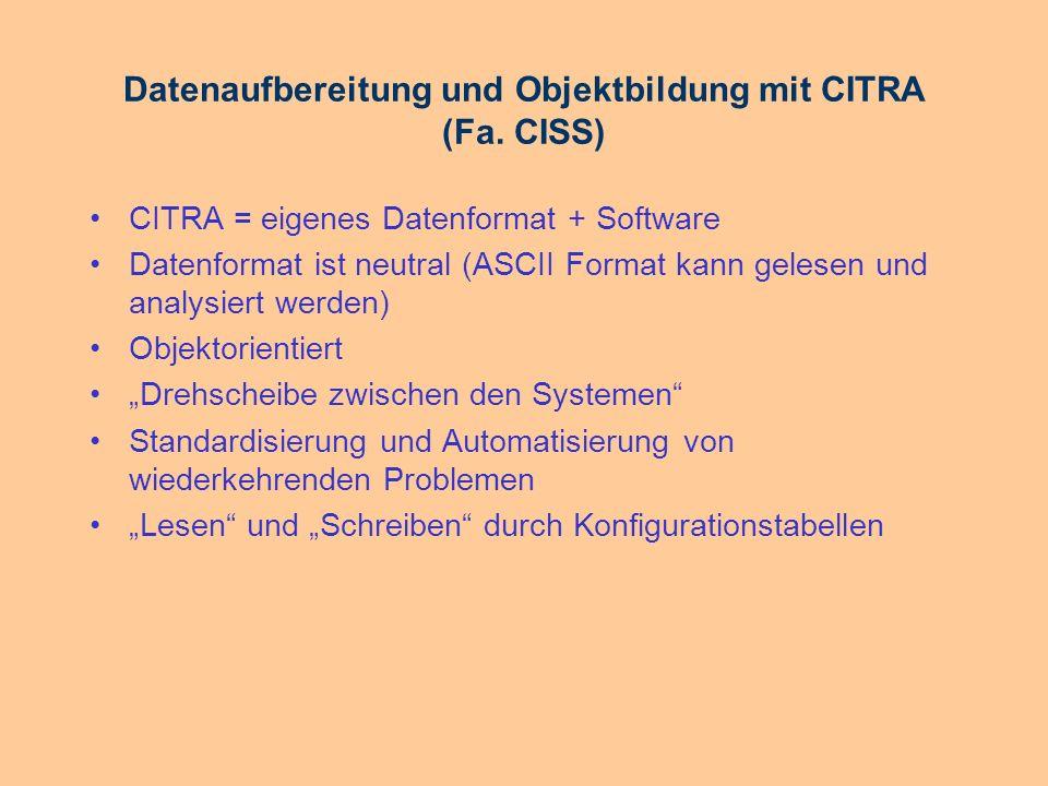 Datenaufbereitung und Objektbildung mit CITRA (Fa. CISS)