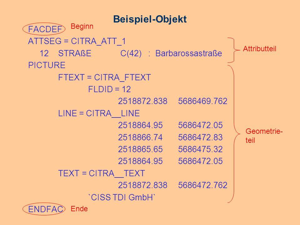 Beispiel-Objekt FACDEF ATTSEG = CITRA_ATT_1