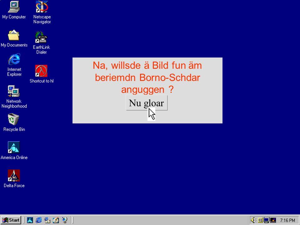 Na, willsde ä Bild fun äm beriemdn Borno-Schdar anguggen