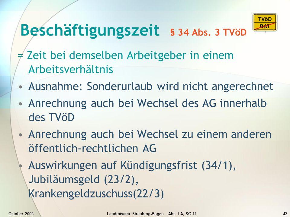 Beschäftigungszeit § 34 Abs. 3 TVöD
