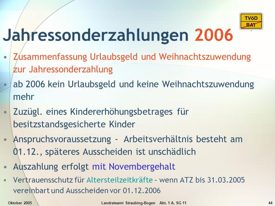 Jahressonderzahlungen 2006