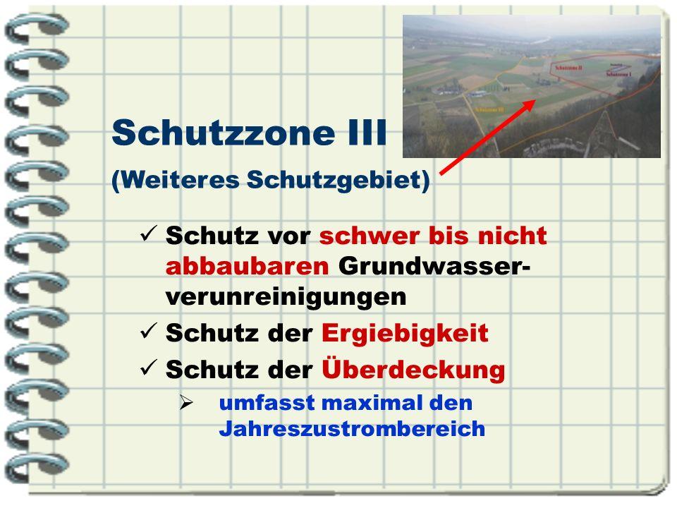 Schutzzone III (Weiteres Schutzgebiet) Schutz vor schwer bis nicht abbaubaren Grundwasser- verunreinigungen.