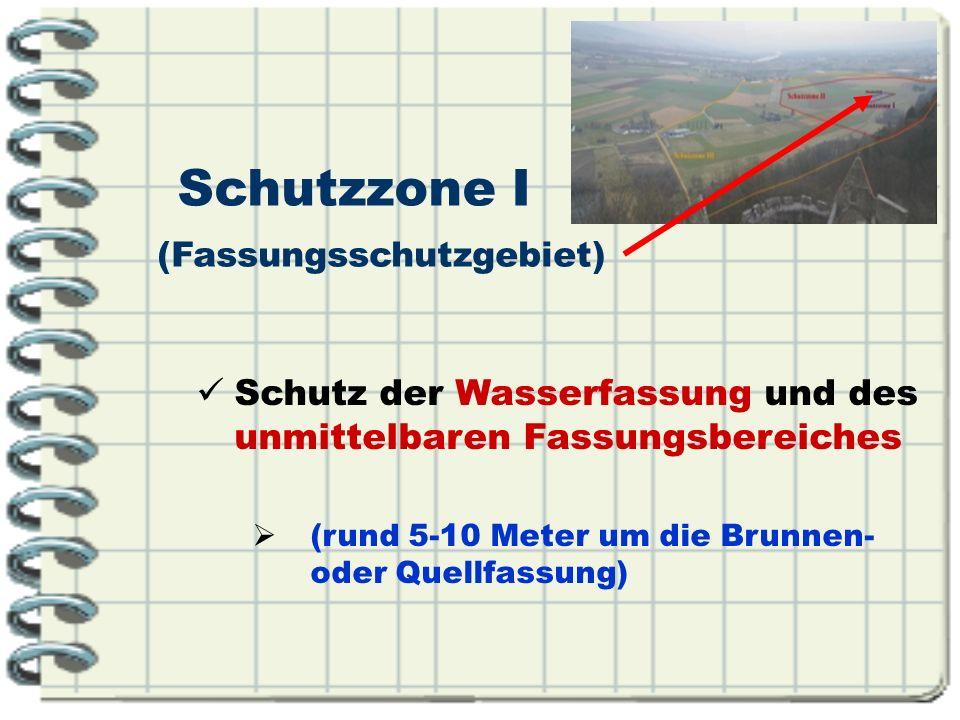 Schutzzone I (Fassungsschutzgebiet) Schutz der Wasserfassung und des unmittelbaren Fassungsbereiches.
