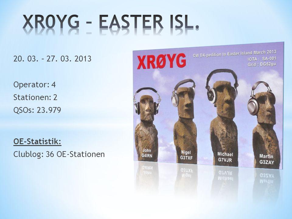 XR0YG – EASTER ISL. 20. 03. – 27. 03. 2013 Operator: 4 Stationen: 2