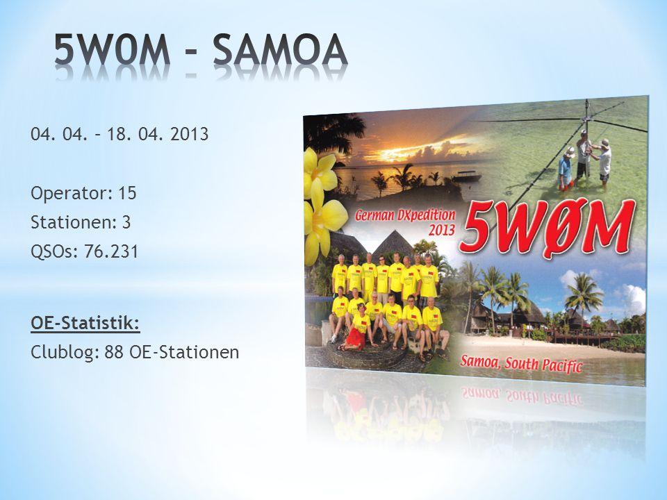 5W0M - SAMOA 04. 04. – 18. 04. 2013 Operator: 15 Stationen: 3