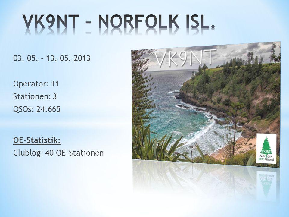 VK9NT – NORFOLK ISL. 03. 05. – 13. 05. 2013 Operator: 11 Stationen: 3