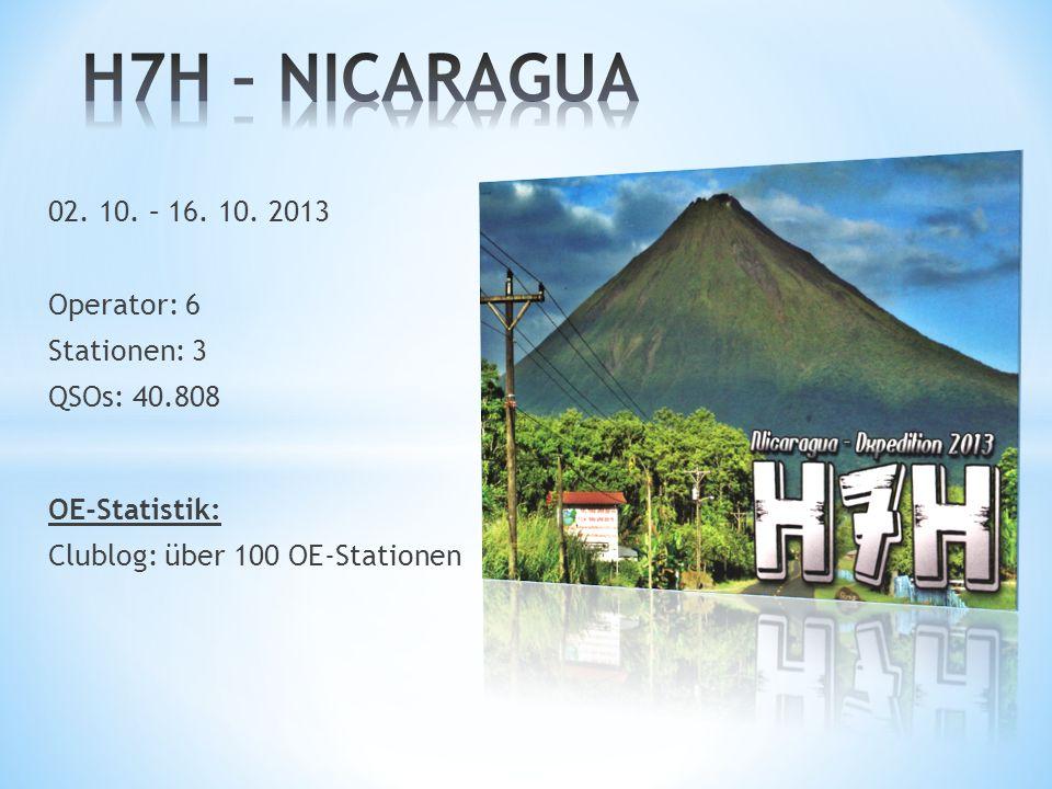 H7H – NICARAGUA 02. 10. – 16. 10. 2013 Operator: 6 Stationen: 3