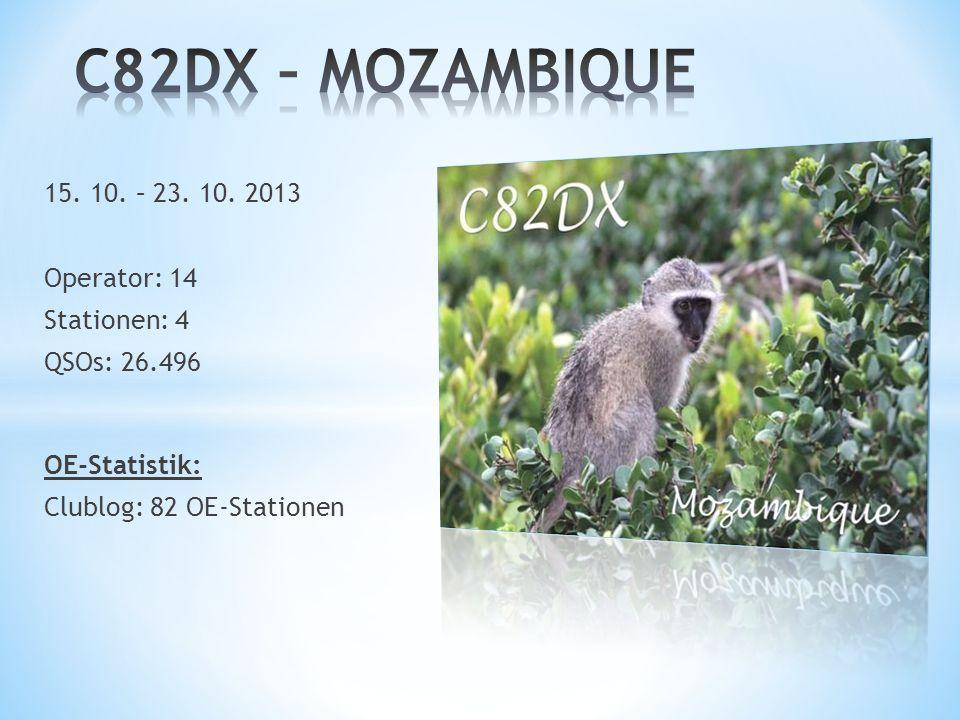 C82DX – MOZAMBIQUE 15. 10. – 23. 10. 2013 Operator: 14 Stationen: 4