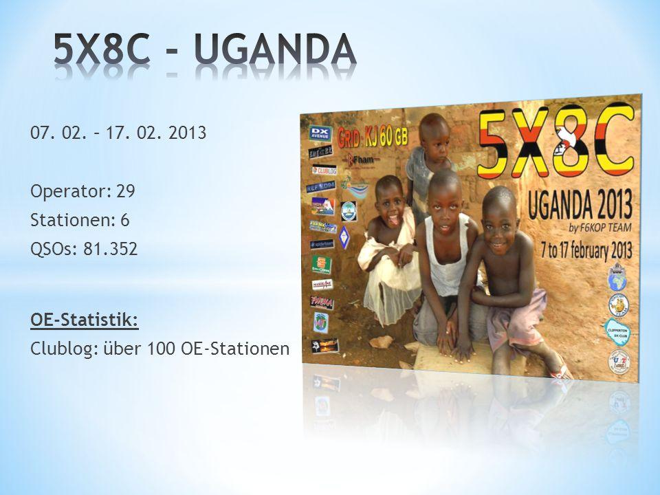 5X8C - UGANDA 07. 02. – 17. 02. 2013 Operator: 29 Stationen: 6