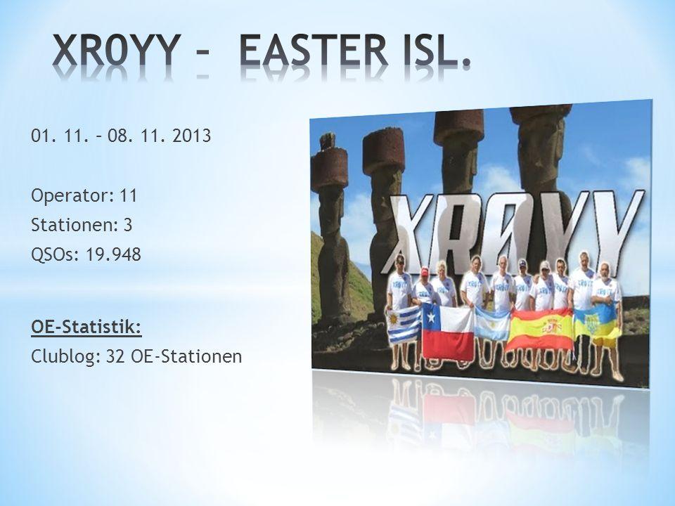 XR0YY – EASTER ISL. 01. 11. – 08. 11. 2013 Operator: 11 Stationen: 3