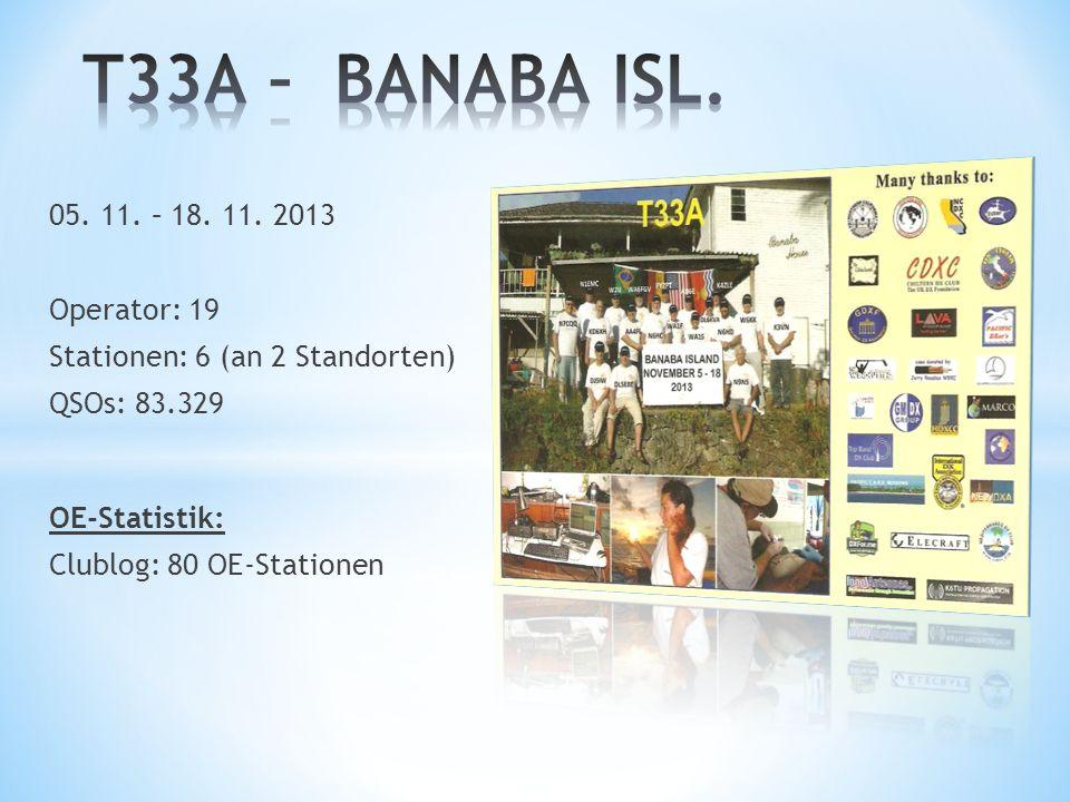 T33A – BANABA ISL. 05. 11. – 18. 11. 2013 Operator: 19