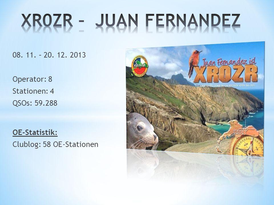 XR0ZR – JUAN FERNANDEZ 08. 11. – 20. 12. 2013 Operator: 8 Stationen: 4