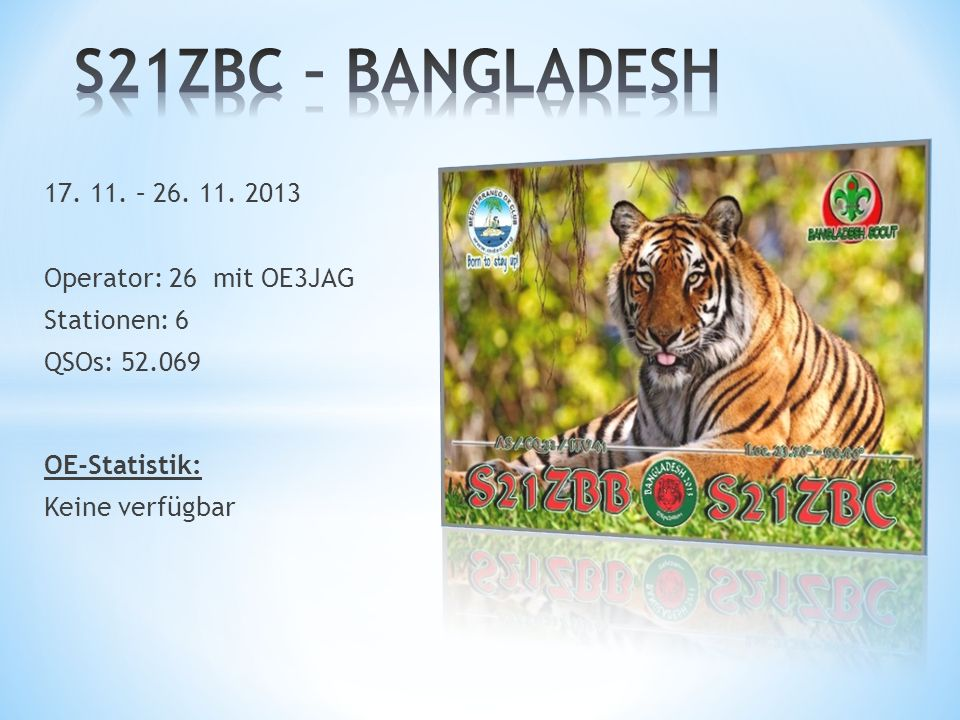 S21ZBC – BANGLADESH 17. 11. – 26. 11. 2013 Operator: 26 mit OE3JAG