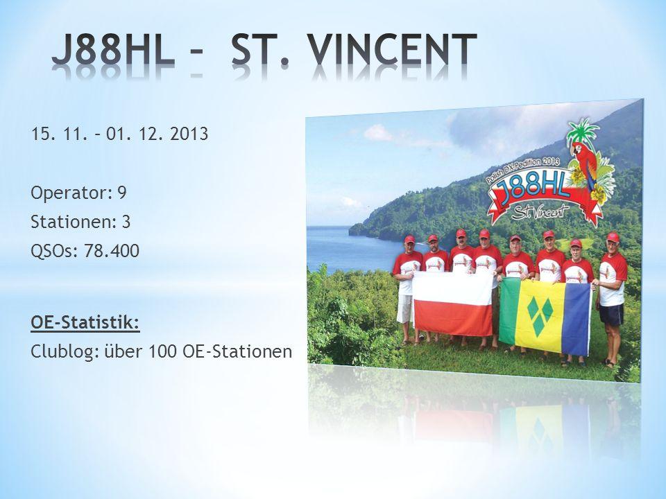 J88HL – ST. VINCENT 15. 11. – 01. 12. 2013 Operator: 9 Stationen: 3