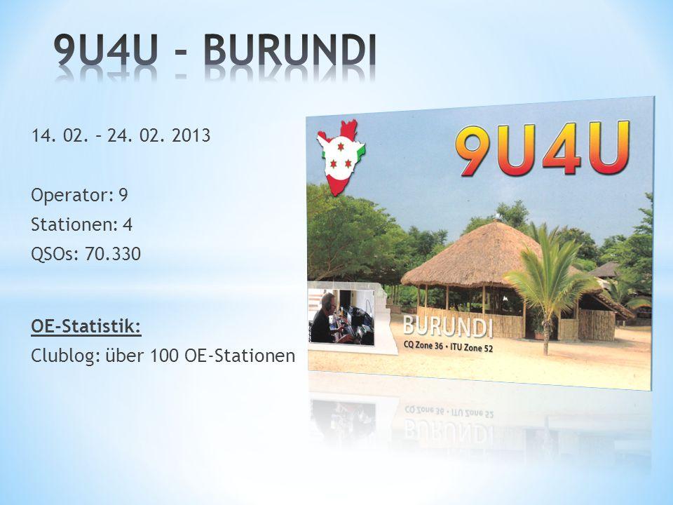 9U4U - BURUNDI 14. 02. – 24. 02. 2013 Operator: 9 Stationen: 4