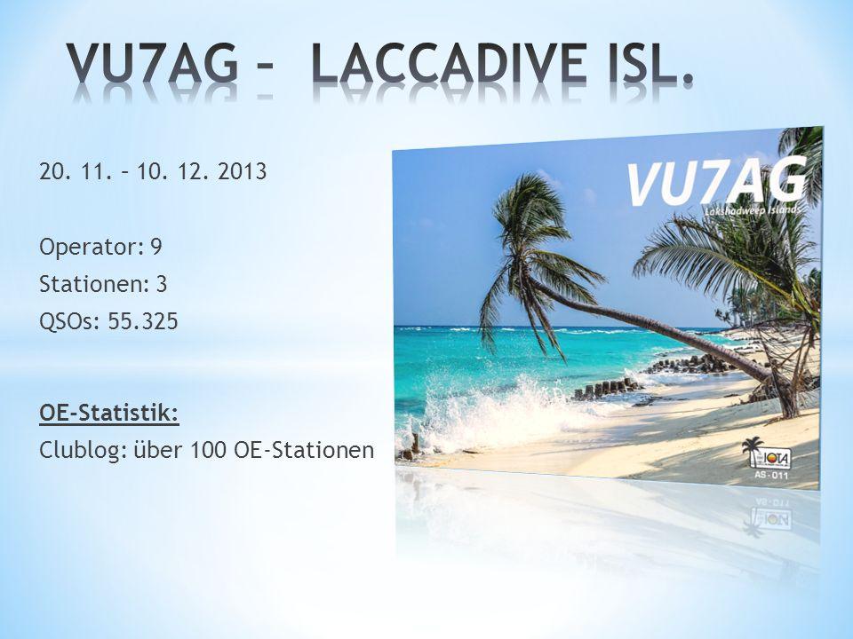 VU7AG – LACCADIVE ISL. 20. 11. – 10. 12. 2013 Operator: 9 Stationen: 3