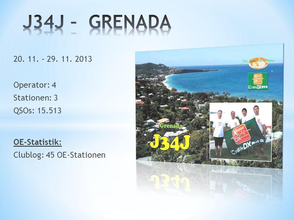 J34J – GRENADA 20. 11. – 29. 11. 2013 Operator: 4 Stationen: 3