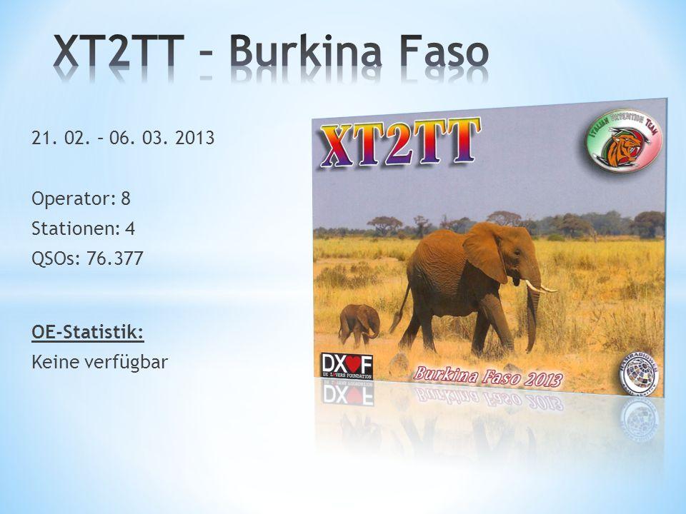 XT2TT – Burkina Faso 21. 02. – 06. 03. 2013 Operator: 8 Stationen: 4