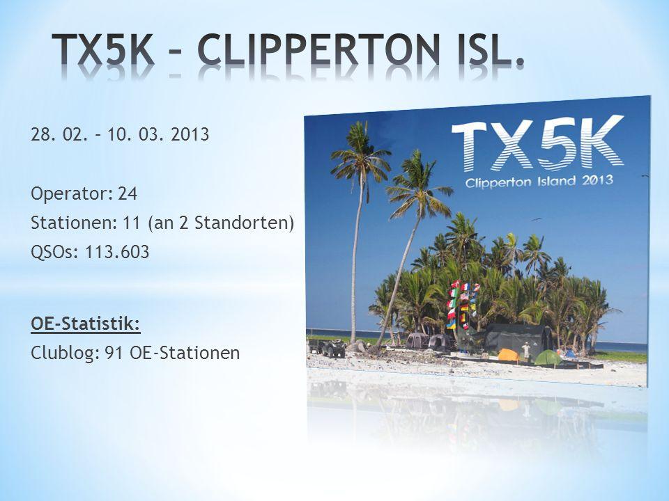 TX5K – CLIPPERTON ISL. 28. 02. – 10. 03. 2013 Operator: 24