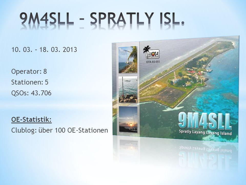 9M4SLL – SPRATLY ISL. 10. 03. – 18. 03. 2013 Operator: 8 Stationen: 5
