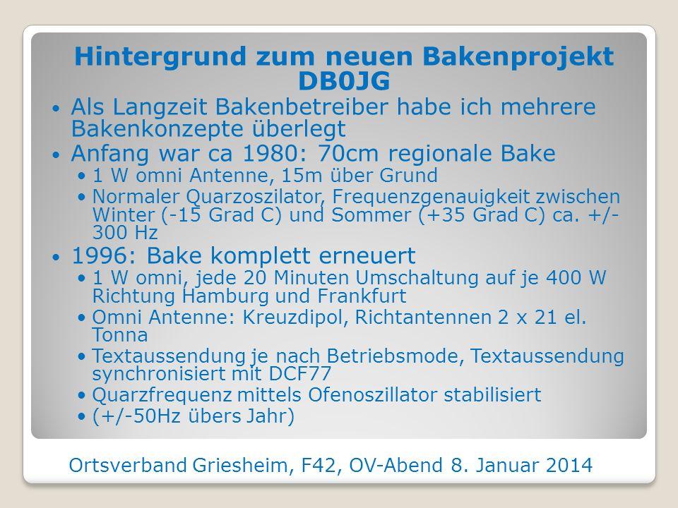 Hintergrund zum neuen Bakenprojekt DB0JG