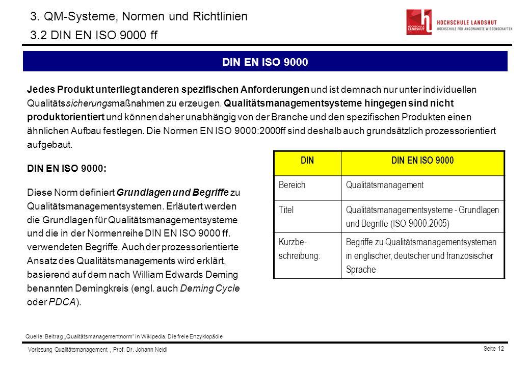 3. QM-Systeme, Normen und Richtlinien 3.2 DIN EN ISO 9000 ff