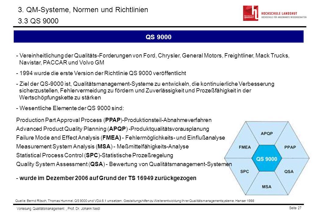 3. QM-Systeme, Normen und Richtlinien 3.3 QS 9000