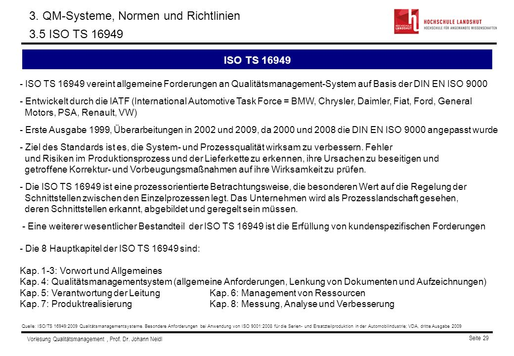 3. QM-Systeme, Normen und Richtlinien 3.5 ISO TS 16949