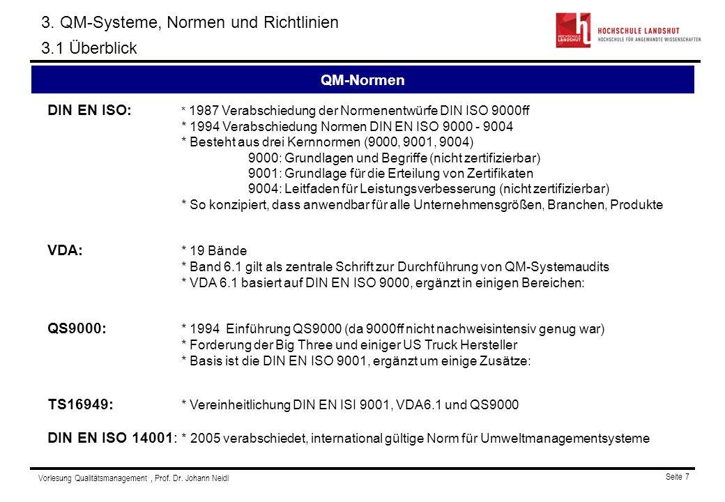 3. QM-Systeme, Normen und Richtlinien 3.1 Überblick