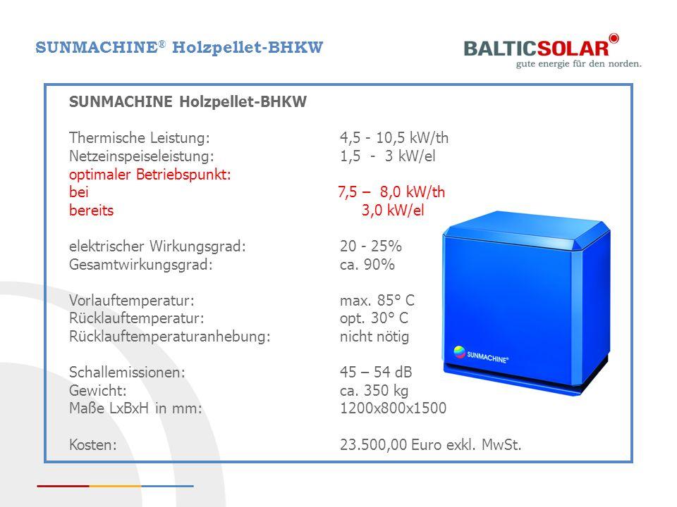 SUNMACHINE® Holzpellet-BHKW