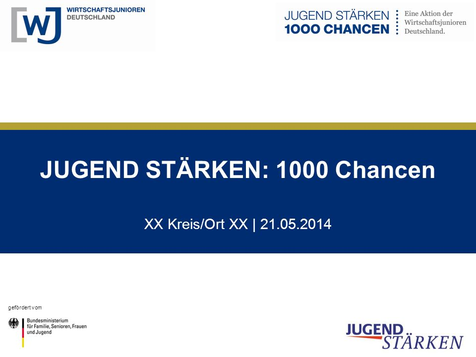 JUGEND STÄRKEN: 1000 Chancen